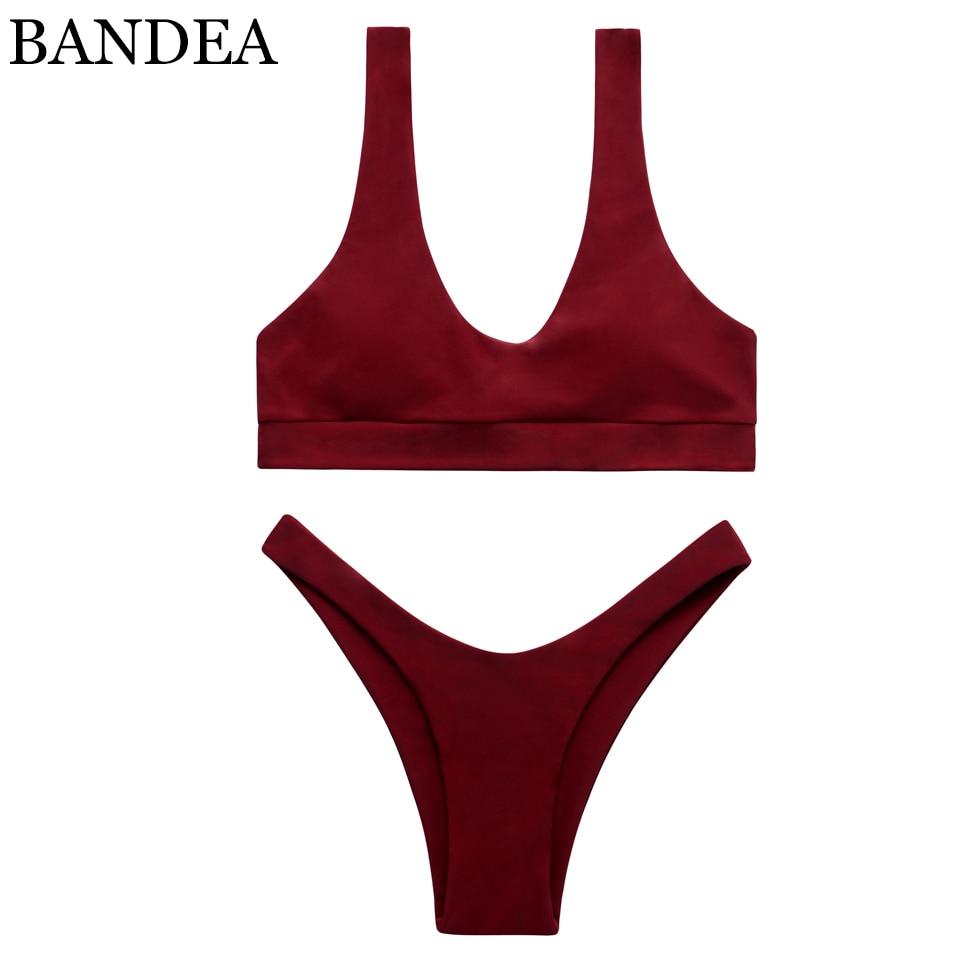 BANDEA 2017 бикини женщин купальники спорт топ купальники мягкий купальный костюм сексуальный высокая вырезать дно пуш-ап trajes де бано женщин KM576