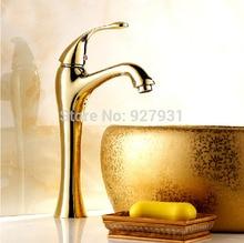 Luxury Single Lever Bathroom Brass Basin Faucet Deck Mounted Golden Basin Vessel Sink Mixer Taps