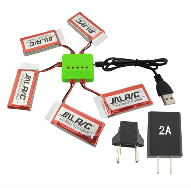 BLLRC Helicopter Charger SYMA X5HW XHC 4-Axis Helicopter 5 in 1 Charger with 2A Charging Head and 5PCS Battery 3.7V 1200mah 2 in 1 battery charger charging docking