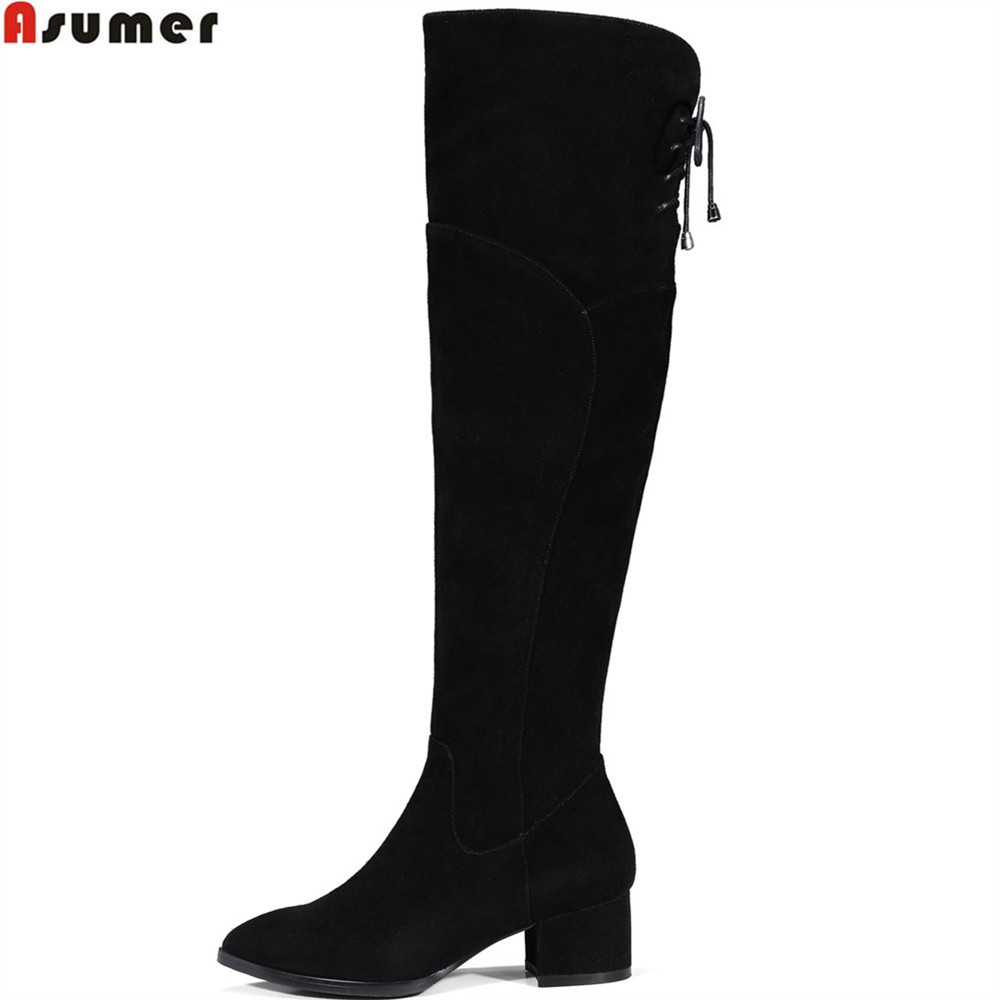 ASUMER fashion new women boots pointed toe ladies cow leather boots black leather square heel cross tied over the knee boots morazora autumn winter new arrive women boots pointed toe zipper flock ladies boots square heel cross tied over the knee boots