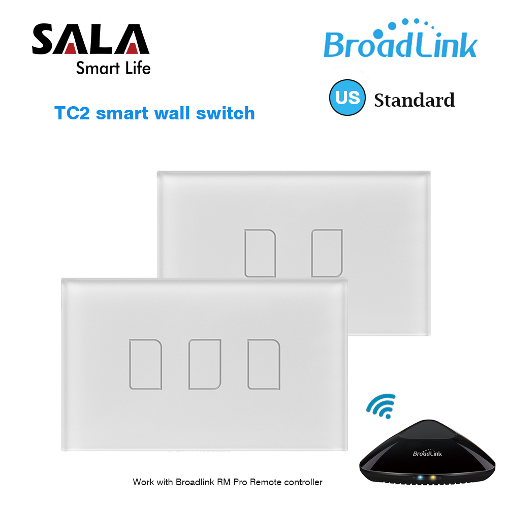 Original Broadlink TC2 US Standard RF Touch Panel Switch 123 Gang RM PRO Smart Home Universal Wireless WiFi Remote Control