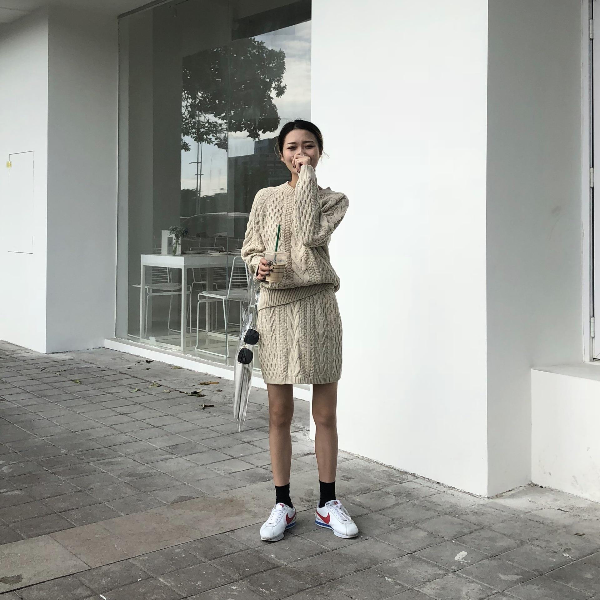 Poncho offre spéciale coton 2018 nouveau femmes tricot costume col rond décontracté à manches longues lâche pull + jupe deux pièces femme - 2