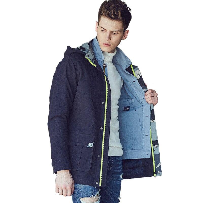 Winter Auntum Style Men Outerwear & Coats Cotton Zipper Casual Camouflage Jacket Famous Brand Khaki Army Green Coat Jacket Men