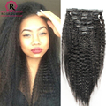 Kinky Straight Clip In Human Hair Extensions 7A Italian Coarse Yaki Human Hair Brazilian Virgin Hair Clip In Extension
