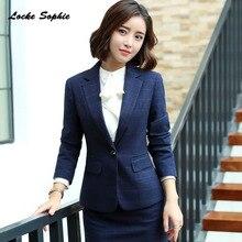 1pcs Womens Plus size Blazers coats 2019 Autumn cotton blend Single button plaid Small Suits jackets ladies Skinny