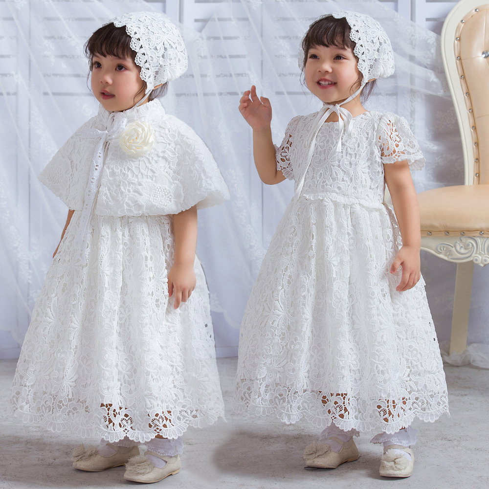 Baby Christening Long Gown White Lace Dress Newborn Infant Princess Birthday Party Dress + Hat + Shawl Suit Clothing Set 0-30M
