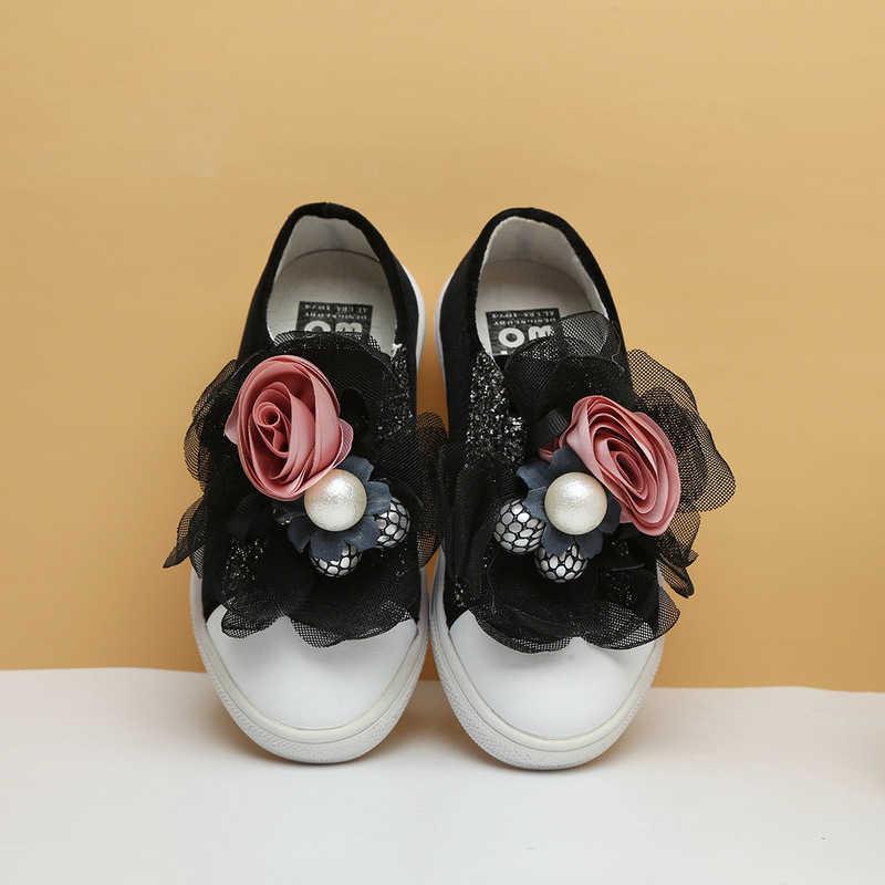 חדש סתיו ילדים ספורט סניקרס ילדי רשת פרח סניקרס תינוק בנות פרל מקרית סניקרס גליטר שחור מותג נעלי מאמני