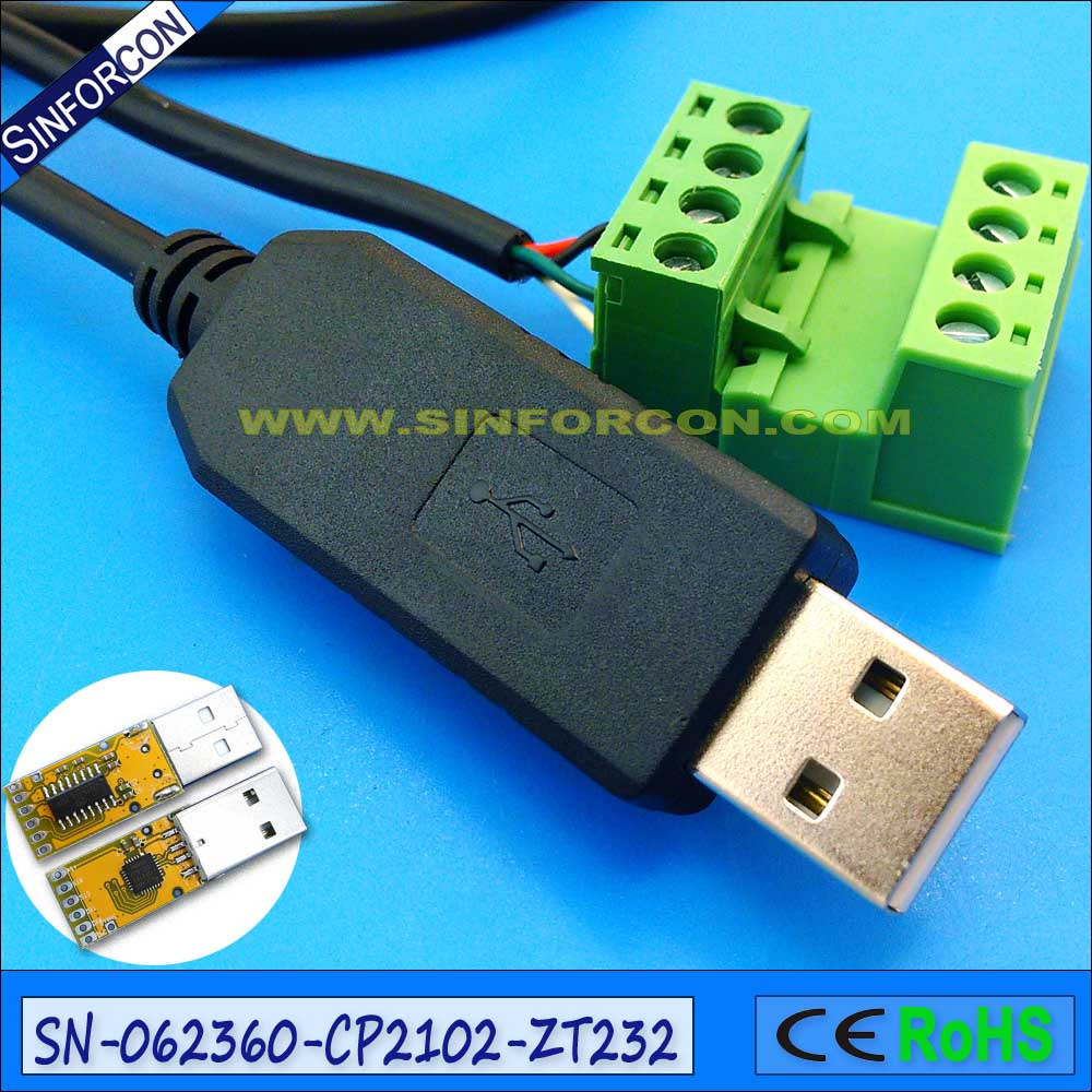 Support Win8 Win10 Android Mac CP2102 usb rs232 serial cable with screws blocks cp2102 cp2102 gmr qfn28