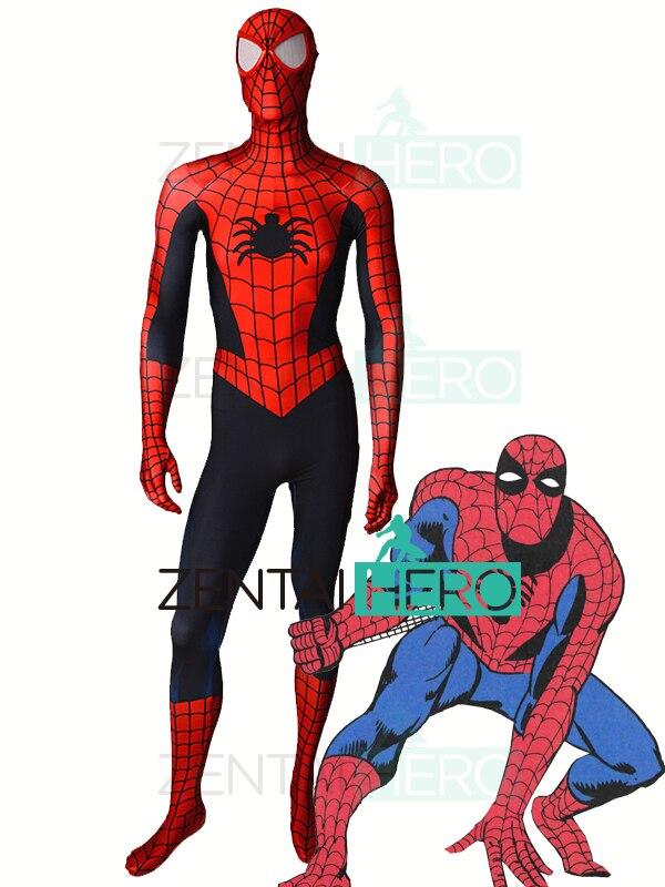 Free Shipping Classic Steve Ditko Spiderman Cosplay Costume Comic Spider-Man Superhero Costume Zentai Halloween Costume Bodysuit