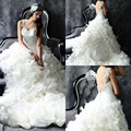 Vestidos Noivas свадебное платье довольно одно плечо принцесса часовня поезд бежевый органзы цветы невесты платья ренда романтический