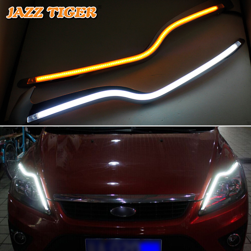 JAZZ TIGER 2PCS Car Headlight Decoration Yellow Turn Signal 12V DRL LED Daytime Running Light For Ford Focus 2 MK2 2009 - 2011 modern fashion led wall lamp bedside living room corridor restaurant bedroom balcony aisle stairs creative wall lamp acryl
