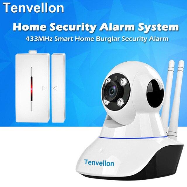 Security Alarm System WIFI IP Camera Night Vision Surveillance Camera With 1pc Wireless Door Sensor Alarm Detector Home Alarm