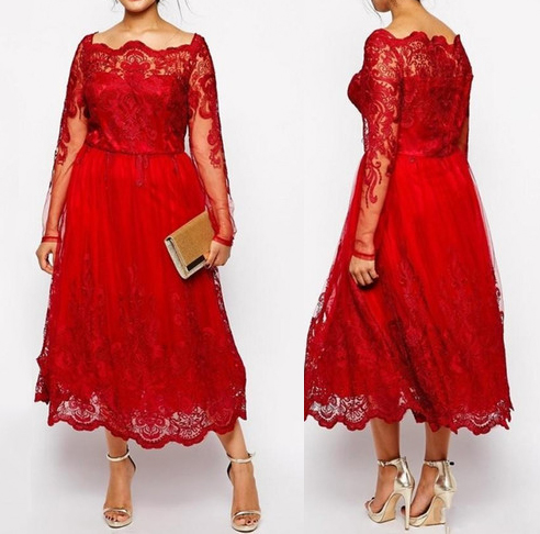 0fe7fee9e20ee Modest Red Lace Plus Size Mother Of The Bride Dresses Sheer Long Sleeves Tea -Length Wedding Guest Gown Custom Make vestido