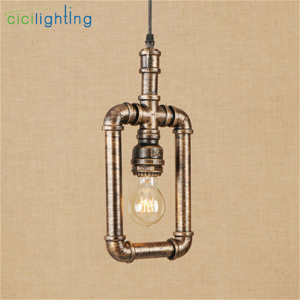 American country Loft style retro Iron pipe pendant lights industrial restaurant bar cafe shop pluming vintage hanging lampen new loft vintage iron pendant light industrial lighting glass guard design bar cafe restaurant cage pendant lamp hanging lights