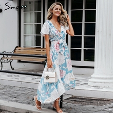 Simplee Sexy v neck women asymmetric dresses Short sleeve floral print long plus size dress Summer elegant holiday vestidos 2019