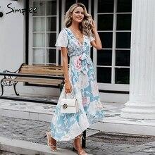 Simplee seksi v boyun kadınlar asimetrik elbiseler kısa kollu çiçek baskı uzun artı boyutu elbise yaz zarif tatil vestidos 2019