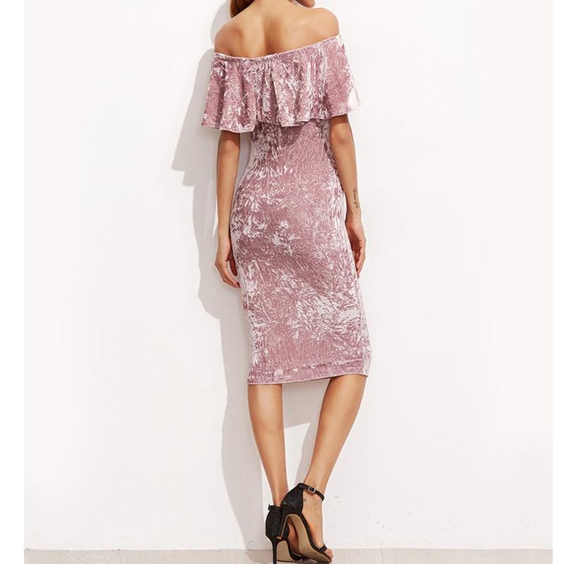 2017 Sexy Frauen Pink Velvet Etuikleid Damen Knielang Elegante - Damenbekleidung - Foto 4