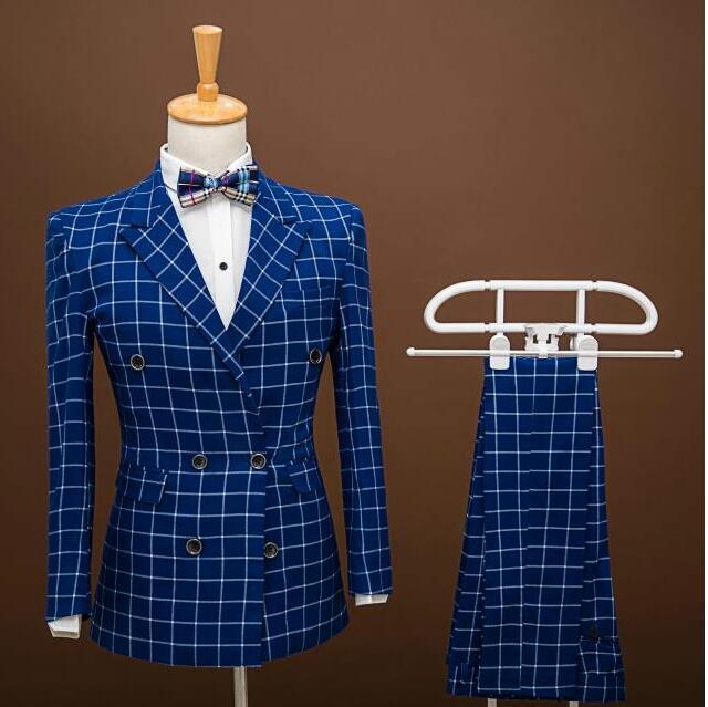 Модный бренд Мужские Костюмы Пром Пиджаки Slim Fit Двойной Брестед Синяя Сетка Жених Свадебное Платье Мужской Смокинг Куртка + брюки 2 Шт.
