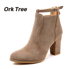 Ork Tree 2017 Autumn Women Boots Fashion Black Solid Ankle Boots Slip On High Heels Women Shoes Casual Buckle Ladies Shoes 25