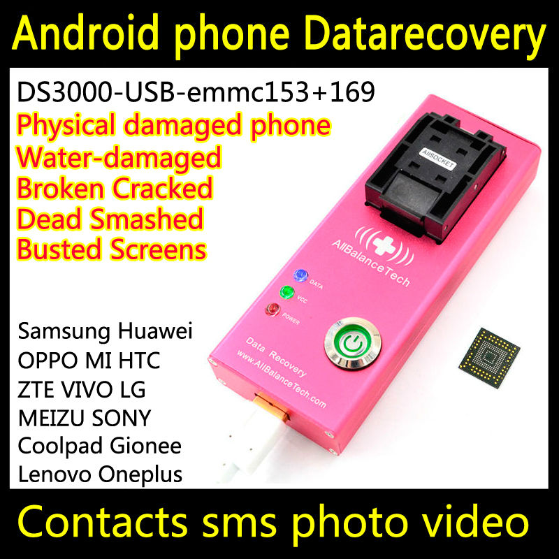 US $128 0 |EMMC Data recovery android phone DS3000 USB3 0 emmc153+169 tool  Recover Contacts SMS Broken Damaged water damaged Dead EMMC-in Connectors