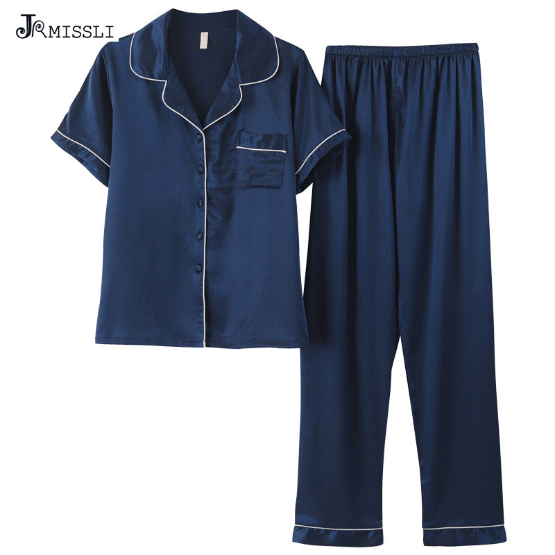 JRMISSLI Women Pajama Sets Brand Big Size Ladies Summer Faux Silk Pajamas Pants 2 Pcs Female Pijama Woman 3XL R367 ...