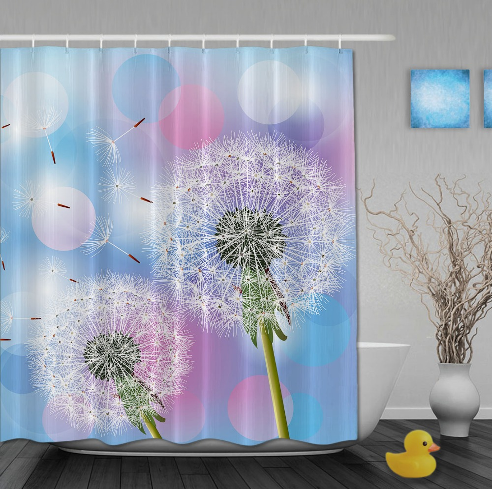 Custom Beautiful Flower Dandelion Blue Color Shower Curtains ...