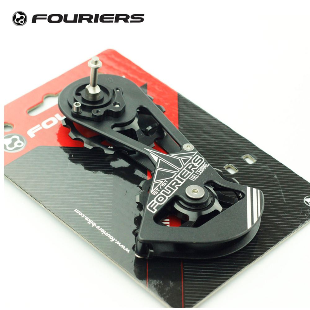 Fouriers Full Ceramic Rear Derailleur Cage Big Pulley Jockey Wheel Kit 15T For Sram Red Force Rival Road Bike Drivetrain Black billet rear hub carriers for losi 5ive t