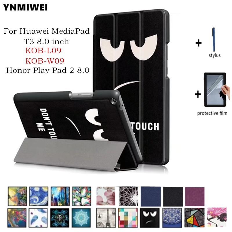 YNMIWEI Case For Huawei MediaPad T3 8.0 KOB-L09 KOB-W09 Tablet Stand Slim Cases For Honor Play Pad 2 8.0 +protector mediapad m3 lite 8 0 skin ultra slim cartoon stand pu leather case cover for huawei mediapad m3 lite 8 0 cpn w09 cpn al00 8
