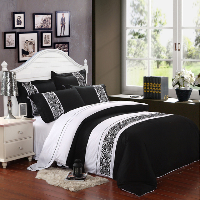 Wholesale of 2014 100% cotton embroidery black and white new bedding set duvet cover flat sheet/bed linen/quilt cover(WDN303)
