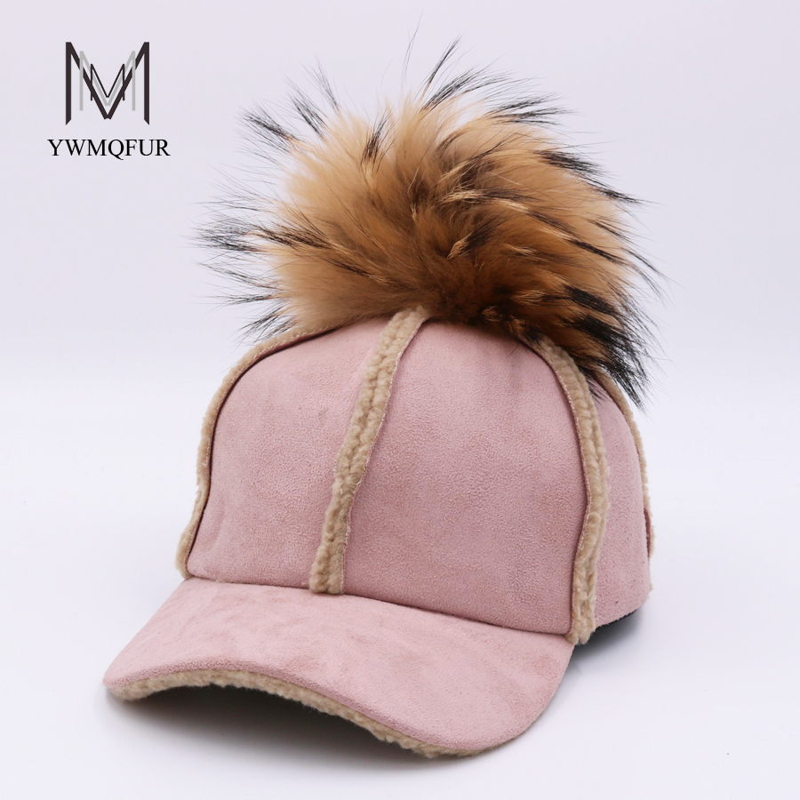 YWMQFUR 2017 New autumn winter baseball cap artificial deerskin lamb hair hat with real raccoon ball fur pom pom for women H129 4pcs new for ball uff bes m18mg noc80b s04g