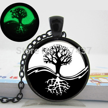 Glowing Jewelry Yin Yang necklace. Tree of life pendant. Art photo glow in the dark necklace pendants. Tree necklace