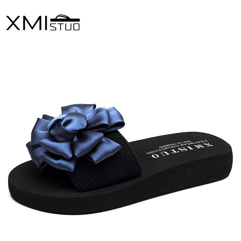 XMISTUO Summer Women Slippers with Flower Slides Outside Beach Sandals Ladies 3CM Low-Heels Slippers 8 Color 7199 mnixuan women slippers sandals summer