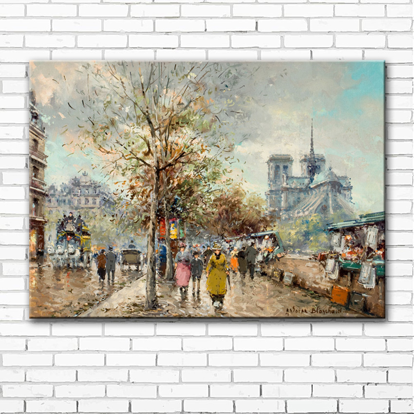 impression figure street tree light scenery canvas printings oil painting printed on canvas wall art decoration picture no frame