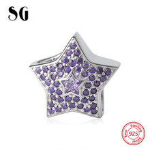 SG star Beads with elegant purple cubic zircon 925 Silver Charms Fit Authentic pandora Bracelets DIY Jewelry making women Gifts