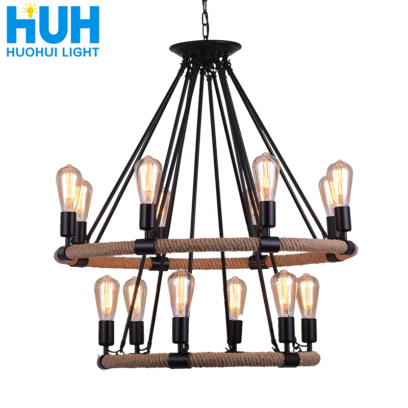 Vintage Hand-woven Hemp Rope Wrought Iron Chandelier American Industrial Style Creative Personality Cafe Catering Chandelier