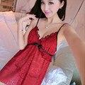 Las mujeres Falda de Encaje ropa de Dormir Camisón de Cobertura Camisa de Dormir Sling Camisón Sin Espalda Cuello En V Profundo Vestido de Noche Vestido de Falda Roja Hombre