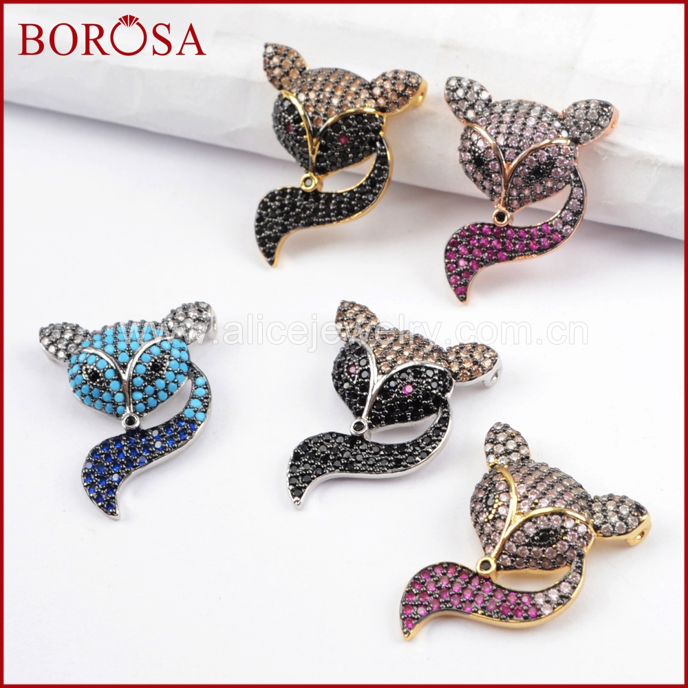 BOROSA 5/10PCS Fashion Micro Pave CZ Crystal Fox Connectors Bead, Rainbow Zircons Stone CZ Pendants for Drusy Jewelry DIY WX808