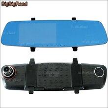 BigBigRoad For Honda greiz insight Car DVR Blue Screen Rearview Mirror Video Recorder Dual Camera lens 5 inch FHD 1080P Dashcam
