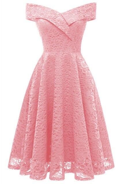 Коктейльные платья сексуальное бордовое кружевное короткое платье для вечеринки длиной до колена ТРАПЕЦИЕВИДНОЕ ПЛАТЬЕ С v-образным вырезом без рукавов - Цвет: pink