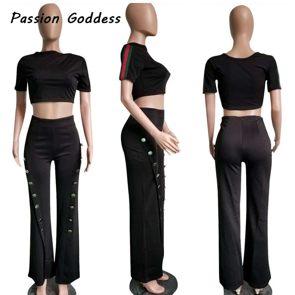 Pants & Capris Bottoms High Waist Flare Pants Plus Size Women Gold Button Trousers Female Ol Casual Wide Leg Open Split Pants Stretch Work Long Pants