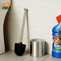 Straight Stainless Steel Glass Liner Toilet Brush Holder Set