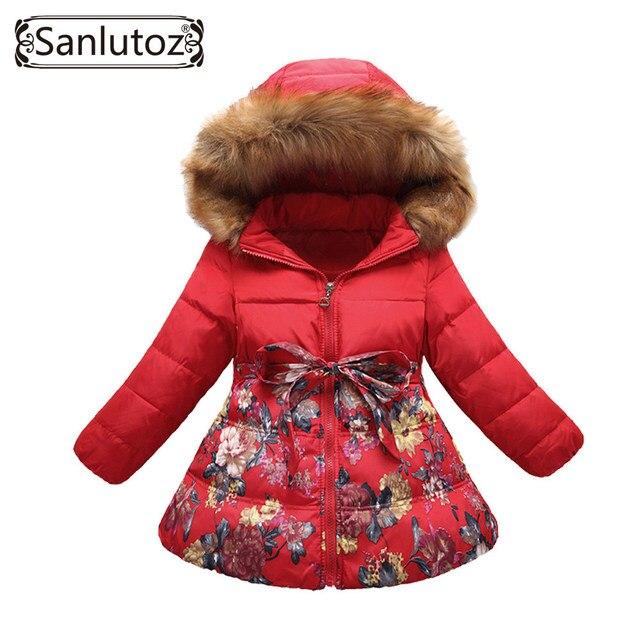 6eb6d3a3e Children Down Jackets Girls Fur Coat Winter Trench Coat Kids ...
