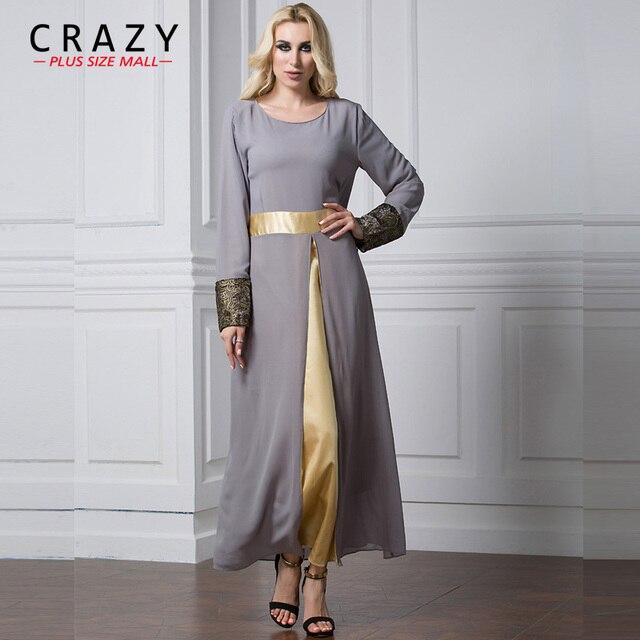 Plus Size Chiffon Dress 2018 L 7XL Women Vintage Black Long Muslim ...