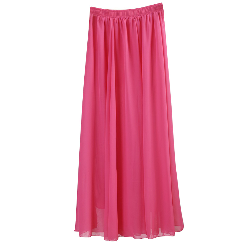 Wholesale Women Chiffon Long Skirts Candy Color Pleated Maxi Skirts 2017 Spring Summer Skirts saia feminina
