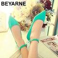 O envio gratuito de 6 cores patente cor sólida PU sapatos femininos tamanho doces cores planas balé princesa sapatos para casuais 35-42