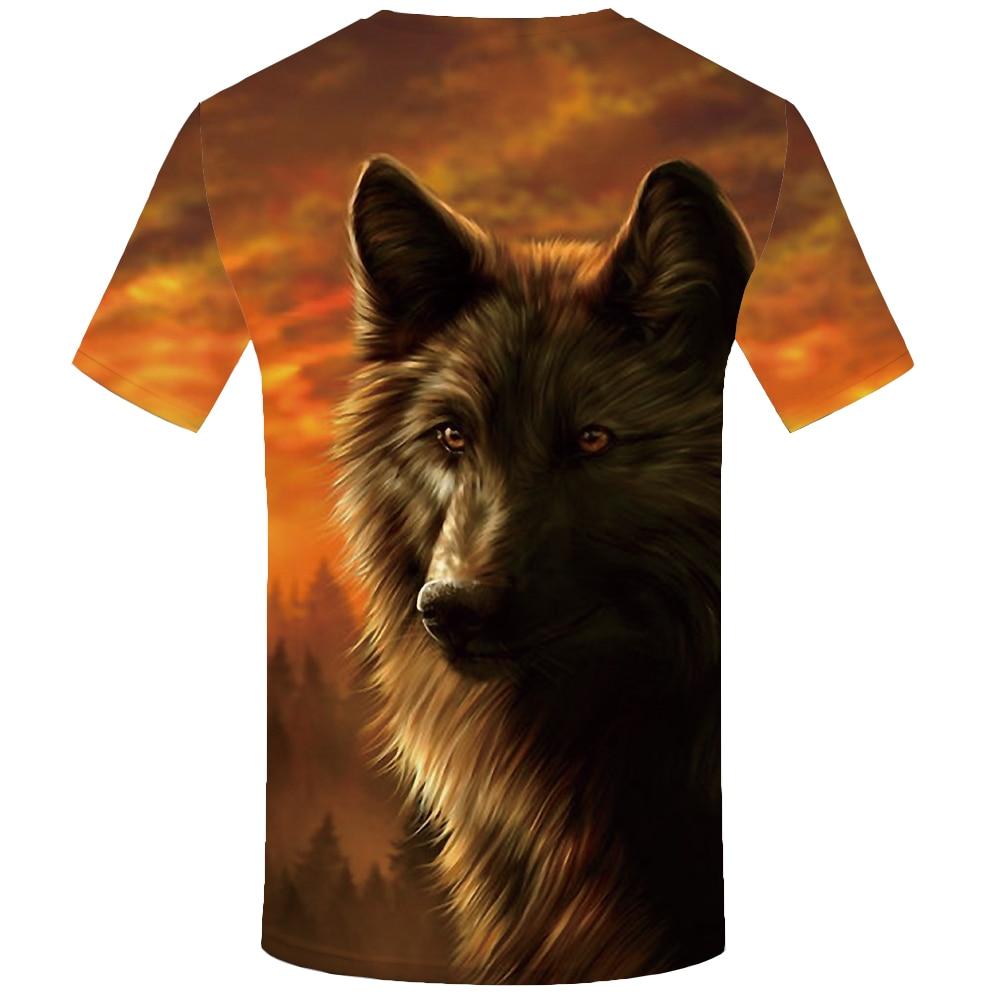 KYKU Wolf T Shirt Jungle Shirts Animal Clothing Tees Clothes Tops Men Mens Male Slim Homme
