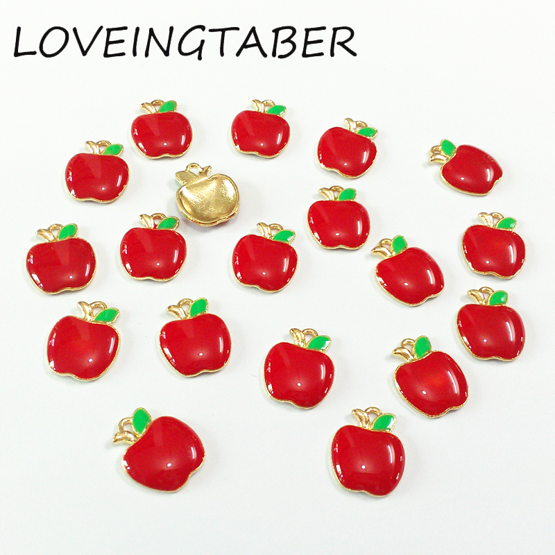 Newest 14mm*12mm 30pcs/lot Enamel Red Apple Small Charm Pendants For Making Handmade Bracelet DIY Accessories