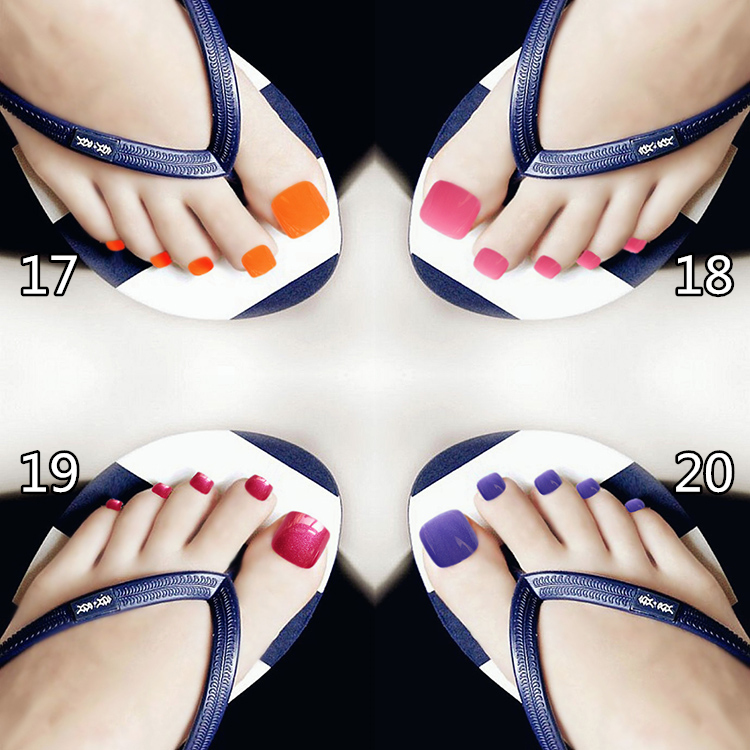 18 Colors New Arrival 24pcs Solid Candy Style Toe Nails Ruby Red ...