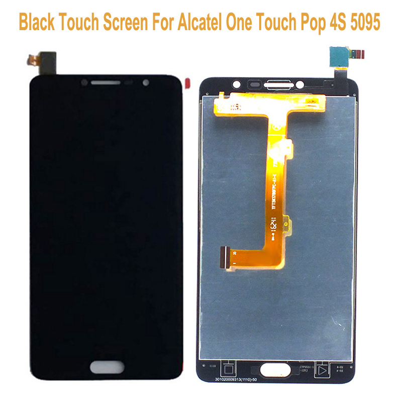 For Alcatel Pop 4S OT5095 5095 5095B 5095I 5095K LCD Display + Black 5.5 Touch Screen Digitizer Assembly Replacements For 5095 alcatel ot 4035d pop d3 dual black fashion blue