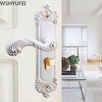 European handle lock porcelain white mute indoor Universal solid wood room door bedroom door lock New home decoration necessary